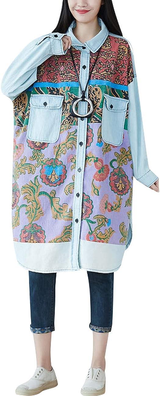 Zoulee Women's Bat Sleeve Printed Long Smock Shirt Jacket in Soft Rigid Denim
