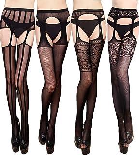 f6fa906af42f VERO MONTE 4 Pairs Women s Suspender Pantyhose Thigh High Stockings Garter  Belt