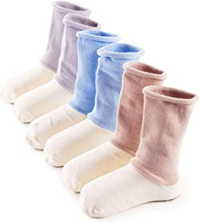 Baba Mate Baby Infant Toddler Boys' Girls' Cotton Socks with Non-binding Tops Seamless Toe for Baby's Foot Health(3 Pack)