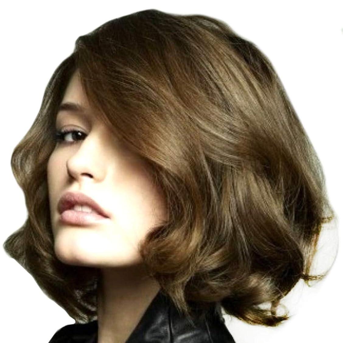 突破口泥棒くびれたSummerys 女性のための短い巻き毛の斜め前髪化学繊維高温ワイヤーをかつら