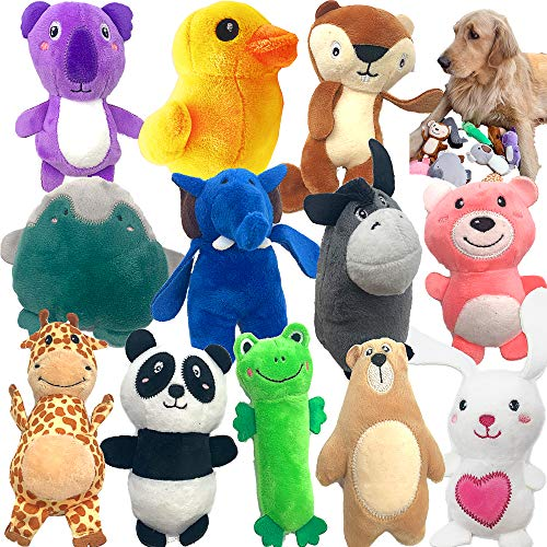 Jalousie 12 Pack Plush Animal Dog Toy Dog Squeaky Toys Cute Pet Plush Toys Stuffed Puppy Chew Toys for Small Medium Dog Puppy Pets  Bulk Dog Toys