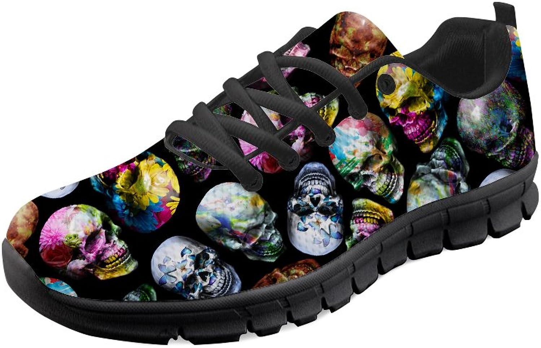 Mumeson Women Lightweight Running shoes Skull Clip Art Print Fashion Sneakers