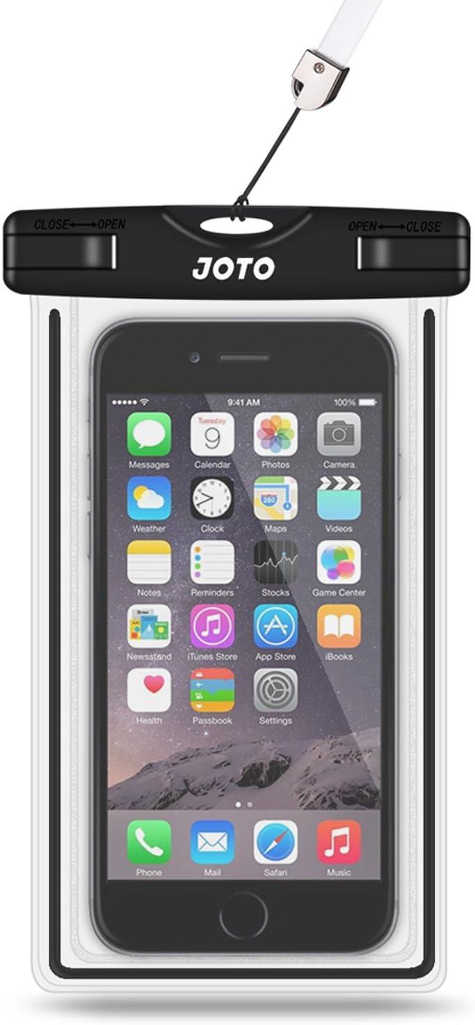 "JOTO Universal Waterproof Case, Cellphone Dry Bag for iPhone XS Max XR X 8 7 6S Plus SE 2020, Galaxy S10 S10e S9 S8 Plus/S6/Note 8 6 5 4, Pixel 3 XL/3 HTC LG Sony Nokia Motorola up to 6.5"" -Black"
