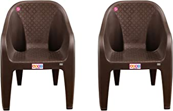 AVRO FURNITURE 9100 Plastic Chairs | Set of 2 | Matt and Gloss Pattern | Plastic Chairs for Home, Living Room| Bearing Cap...