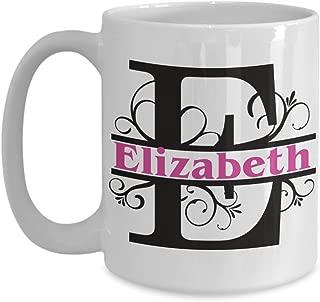 Elizabeth Coffee Mug Custom First Name Monogram Personalized Ceramic Tea Cup Gift Girl Woman Named Ideas