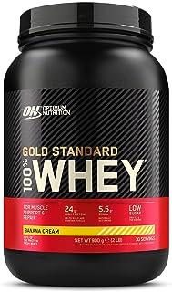 Optimum Nutrition ON Gold Standard 100% Whey Proteína en Polvo Suplementos Deportivos, Glutamina y Aminoacidos, BCAA, Crema de Plátano, 29 porciones, 900g, Embalaje puede variar