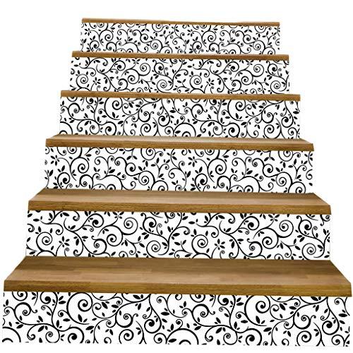 F Fityle 6pcs PVC Selbstklebende Treppenaufkleber Treppen Aufkleber Stickers für Treppenstufen - i