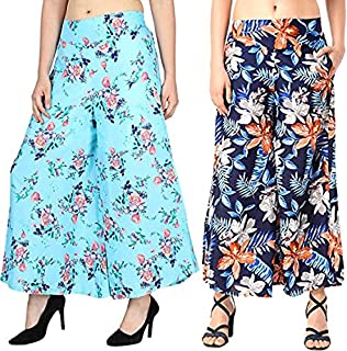 Fraulein Women's/Girl's Palazzos Soft Poly Crepe Wide Bottom Sharara Style Palazzos/Trousers with One Pocket and Mesh Inne...