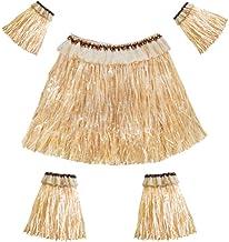 Amosfun Conjunto de Falda de Hierba Hawaiana Bandas para Brazos y piernas Traje elástico Accesorio para Fiesta Rendimiento Traje 5pcs (Color de Paja)