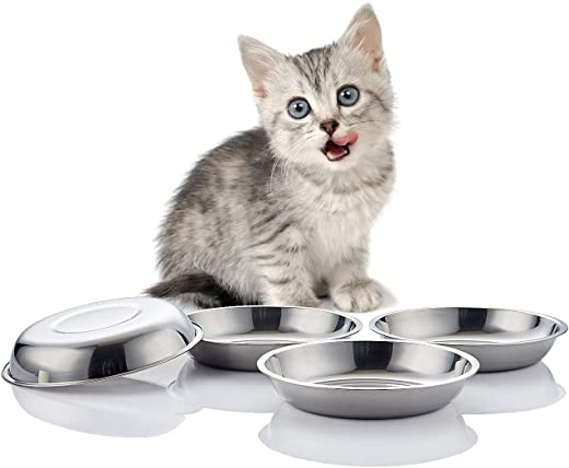 VENTION Stainless Steel Whisker Relief Cat Food Bowl, Shallow Metal Cat Bowls Set, 10 Oz Replacement Pet Cat Feeding Dishes for Raised/Elevated Stands, Work for Dog Plate, Dishwasher Safe, Set of 4