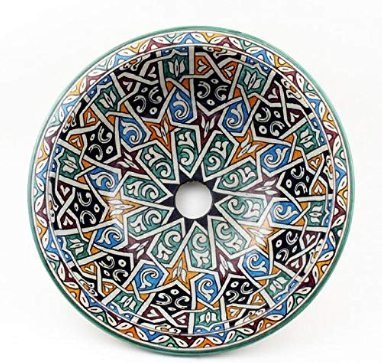 Casa MGold Orientalisches Keramik-Waschbecken Fes33  35 cm bunt rund  Marokkanisches Aufsatzwaschbecken handbemalt  Handwaschbecken für Küche Badezimmer Gste-Bad  Einfach schner Wohnen