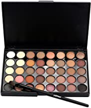 Huikai Popfeel 40 Colors Eyeshadow Palette Matte Shimmer Eye Shadow Makeup Powder Set with Brushes for Party for Show for Prom (Nude Colors)