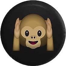American Unlimited Text Emoji Hear No Evil Monkey Spare Tire Covver (Fits: Jeep Wrangler, SUV Camper RV Accessories) Black 33 in