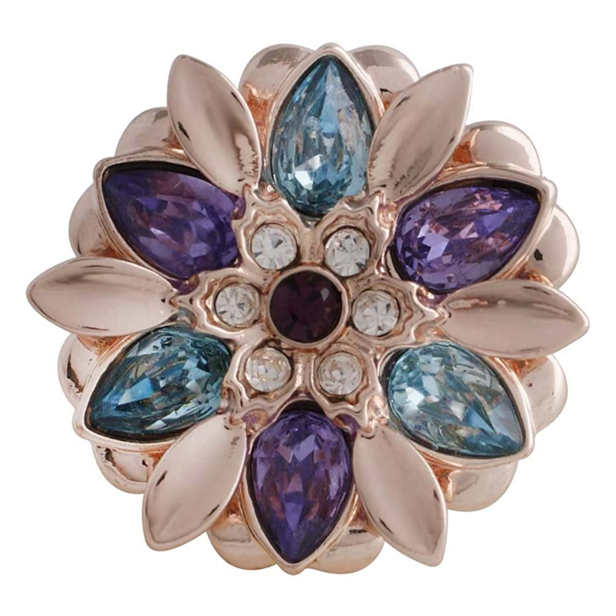 Snap Charm Rose Gold Flower Multicolor Stones 20mm Standard 3/4