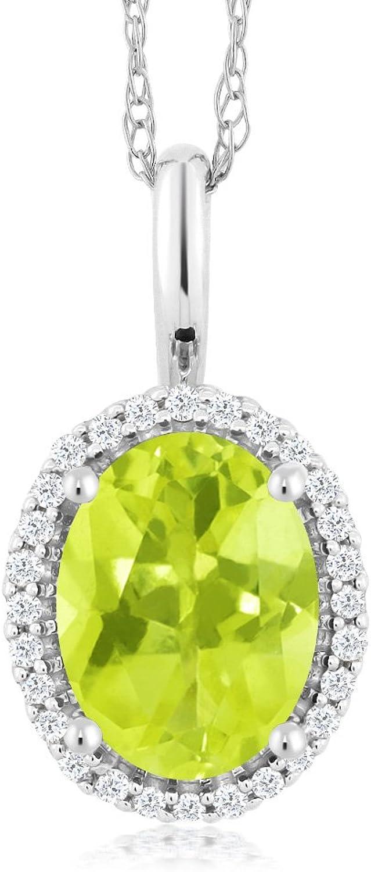 10K White gold 1.10 Ct Oval Yellow Lemon Quartz and Diamonds Pendant With Chain