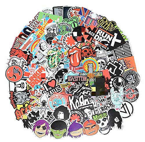 Band Stickers 98 Pcs Rock and Roll Music Stickers, Vinyl Waterproof Stickers for Personalize Laptop, Electronic Organ, Guitar, Piano, Helmet, Skateboard, Luggage Graffiti Decals