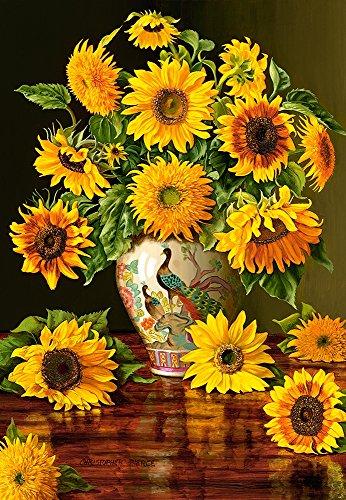 Castorland Jigsaw 1000 pz-Girasoli in un vaso di pavone, Multicolore, C-103843
