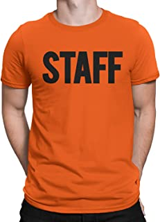 NYC FACTORY Men's Staff T-Shirt Front Back Print Tee Event Uniform Screen Printed Tshirt