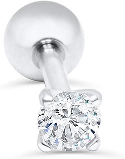ONDAISY 14k Gold Plated Simulated Diamond 3mm Cz Round Circle Ball Ear Barbell Ball Stud Earring Piercing
