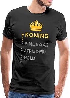 Spreadshirt Koning Eindbaas Strijder Held Grappige Koningsdag Mannen Premium T-shirt