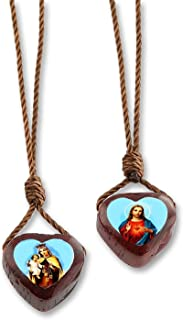 Catholica Shop Scapular Necklace with Brown Cord & Cherry Wooden Catholic Medals of Jesus & Our Lady of Mount Carmel - Pack of 6