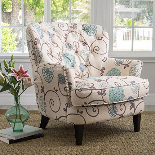 Christopher Knight Home Tafton Arm Chair, White + Blue