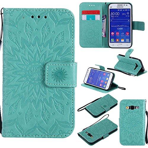 Custodia Samsung Galaxy Core Prime, Bear Village Custodia in Pelle Galaxy Core Prime [Garanzia a Vita], Magnetica Portafoglio Cover per Samsung Galaxy Core Prime (#1 Verde)