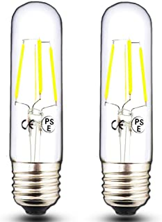 Klarlight E26 T10 Tubular Edison LED Light Bulb, 40 Watt Incandescent LED T10 Replacement Bulb - 4 Watt Daylight COB Tubular LED Filament Bulb, Medium Base E26 Tube Bulbs (2-Pack)