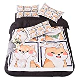 TOMORI Shiba Inu Anime Duvet Set 3PCS Bedding Set Corgi Twin Size Duvet Cover Doge Cartoon Pillowcase