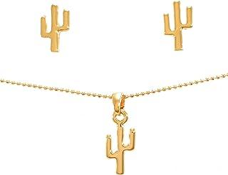 Set de Joyería Collar y Aretes de Cactus - Chapa Oro 22k - Cadena de 45cm - Elegantia Jewelry