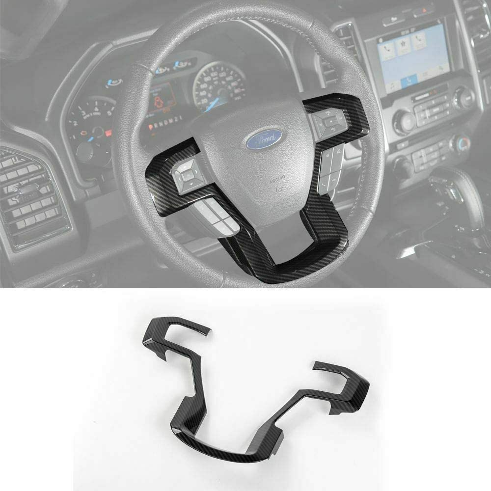 Meyffon Steering Wheel Trim Cover kit for 2015-2019 Ford f150 /& 2017-2019 f250 f350 Super Duty Frame Interior Accessories Carbon Fibre Style