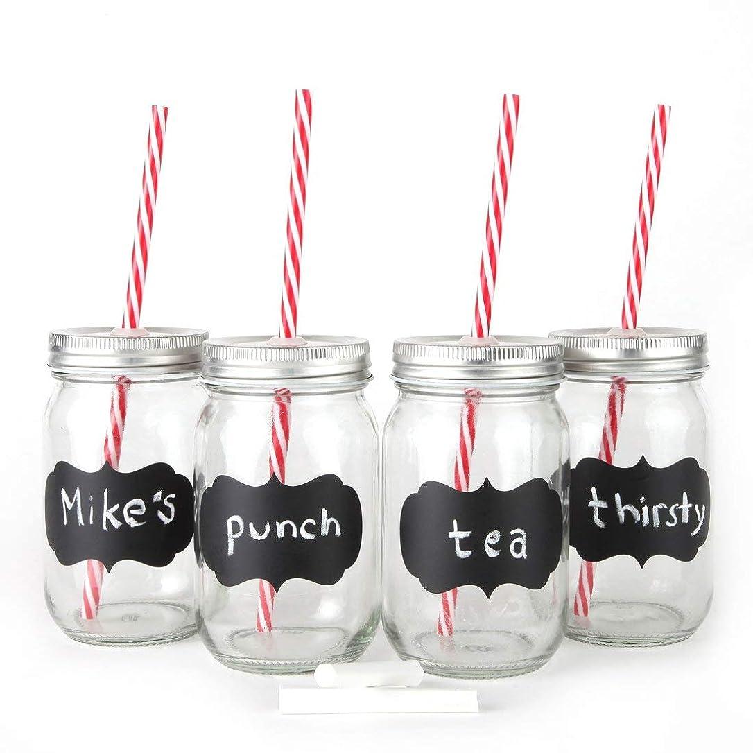 分離する会計ベアリングサークルChalkboard Mason Jar Mugs with Tin Lid, Plastic Straws and Chalk. 16 Oz. Each. Old Fashion Drinking Glasses -. By Lily's Home by Lily's Home