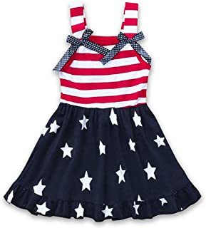 CM C&M WODRO Toddler Baby Girls Summer Outfit Stars and Stripes Bow-Knot Dress Independent`s Day Suits
