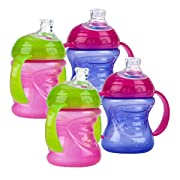 Nuby Two-Handle No-Spill Super Spout Grip N' Sip Cups, 8 Ounce (4 Count, Pink/Purple)