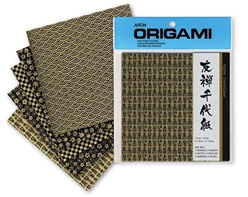 Aitoh Origami Papier - Yuzen - Schwarz/Gold - 15 cm x 15 cm