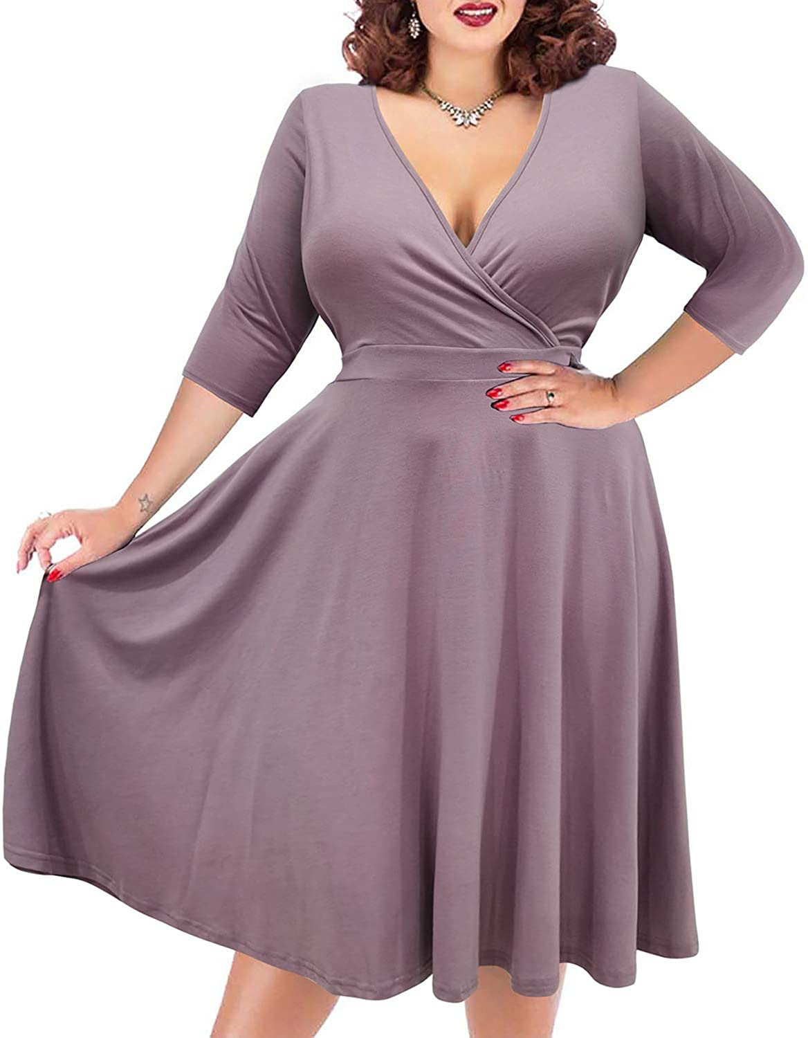 1950s Plus Size Dresses, Swing Dresses Nemidor Womens V-Neckline Stretchy Casual Midi Plus Size Bridesmaid Dress $29.99 AT vintagedancer.com