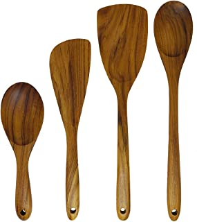 Kunyai - Teak Wood Utensils Set - Rice Spatula, Flat Spatula, Long Handle Spatula and Spoon - Nonstick Hard Wooden Spatula and Spoon Set - Product from Thailand - (Spoon and Spatula Set of 4)