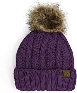 BYSUMMER Cable Knit Beanie with Faux Fur Pom - Warm, Soft, Thick Beanie Hats for Women & Men (Purple)