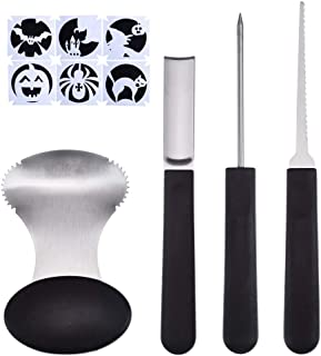 Antner Pumpkin Carving Tools Kit, 4 Piece Heavy Duty Stainless Steel Tool and 6 Pieces Halloween Pumpkin Carved Stickers