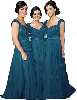 Women' Cap Sleeve Lace Bridesmaid Dresses Long Wedding Party Gowns