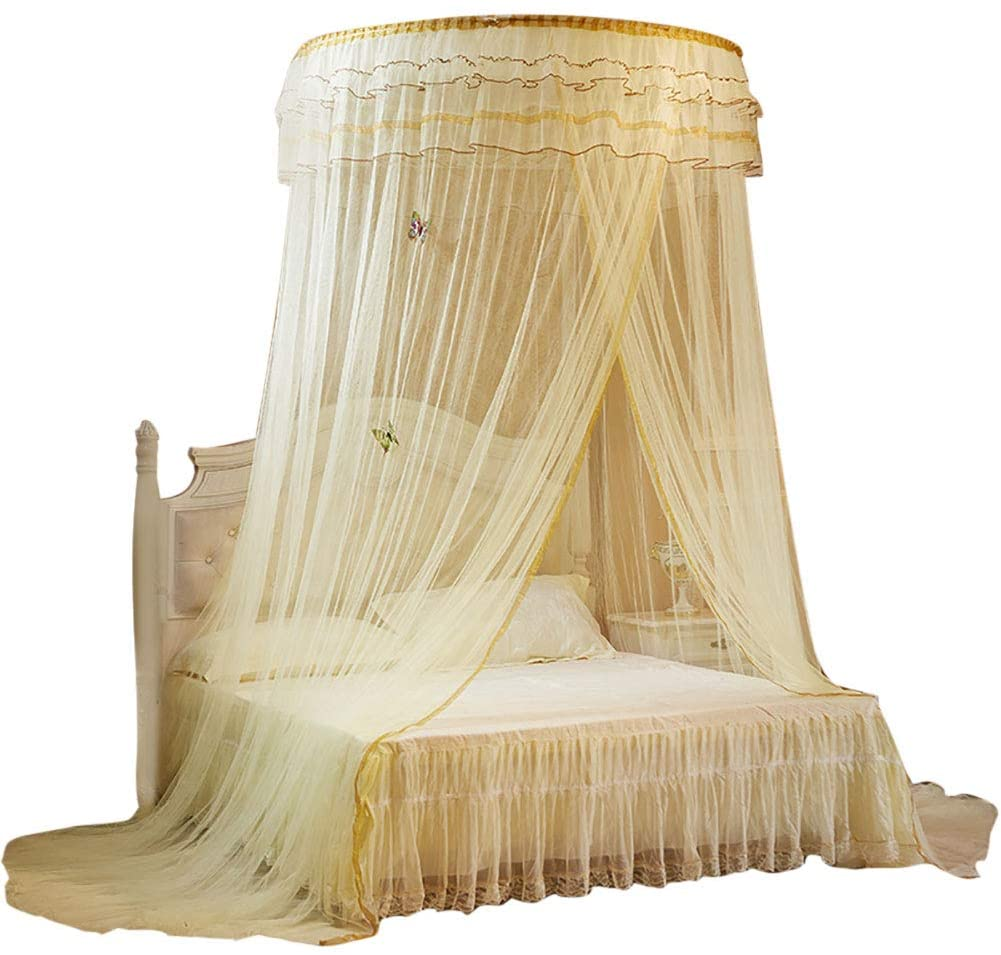 Cikonielf Mosquito Net Breathable Round Canopy Lace Princess Style Mosquito Net Bed Curtain Netting (Beige)