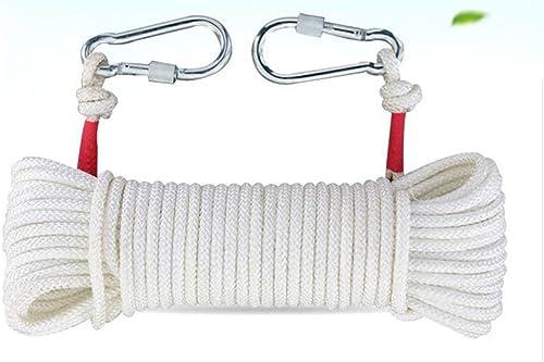 Rock climbing rope Corde D'Escalade Lifesaving Nylon Urgence Corde D'Escalade Extérieure Cordes De Sécurité,blanc-35m10mm