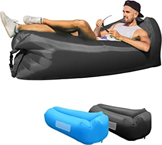 KXLY Inflatable Lounger Air Sofa - Portable Inflatable Couch Anti- Air Leaking Beach Inflatable Lounger for...