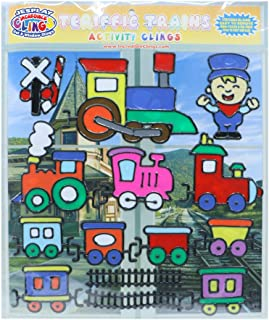 JesPlay Terrific Trains Flexible Gel Clings – Reusable Window Clings for Kids and Adults - Incredible Gel Decals of Trains, Tracks, Boxcars, Engines, Engineers, Signs, Crossing and More