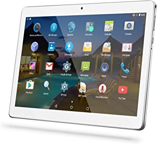 """Android Tablet 10 Inch with Sim Card Slots - YELLYOUTH 10.1"""" 4GB RAM 64GB ROM Octa Core 3G Unlocked GSM Phone Tablet PC Compatible with WiFi Bluetooth GPS - Silver"""