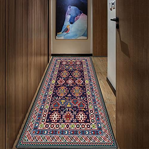 Goodming Teppich läufer 60x420cm, Waschbarer Teppich, Schwer entzündlich, Trittschalldämmend, Leicht zu reinigen, für Tepiche für Wohnzimmer, Schlafzimmer, Küche, Kinderzimmer.