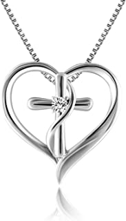 Angelady Silver Cross Necklace for Women, Faith Hope Love Heart Cross Pendant Necklace for Women Jewelry Valentine Birthday Gifts for Women