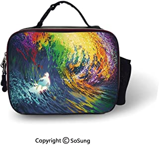 Modern Cooler Bag Detachable Exotic Surfer in the Ocean Waves with Digital Featured Effects Sports Hobby Graphic Smooth zipper for lunch bag,10.6×8.3×3.5 inch,Multicolor