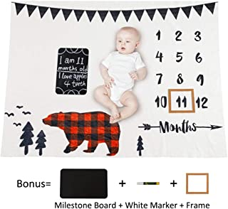 MHJY Baby Monthly Milestone Blanket with Milestone Chalkboard, Marker and Frame, Newborn Boys Girls Soft Fleece Bear Monthly Growth Blanket Photo Photography Props 40