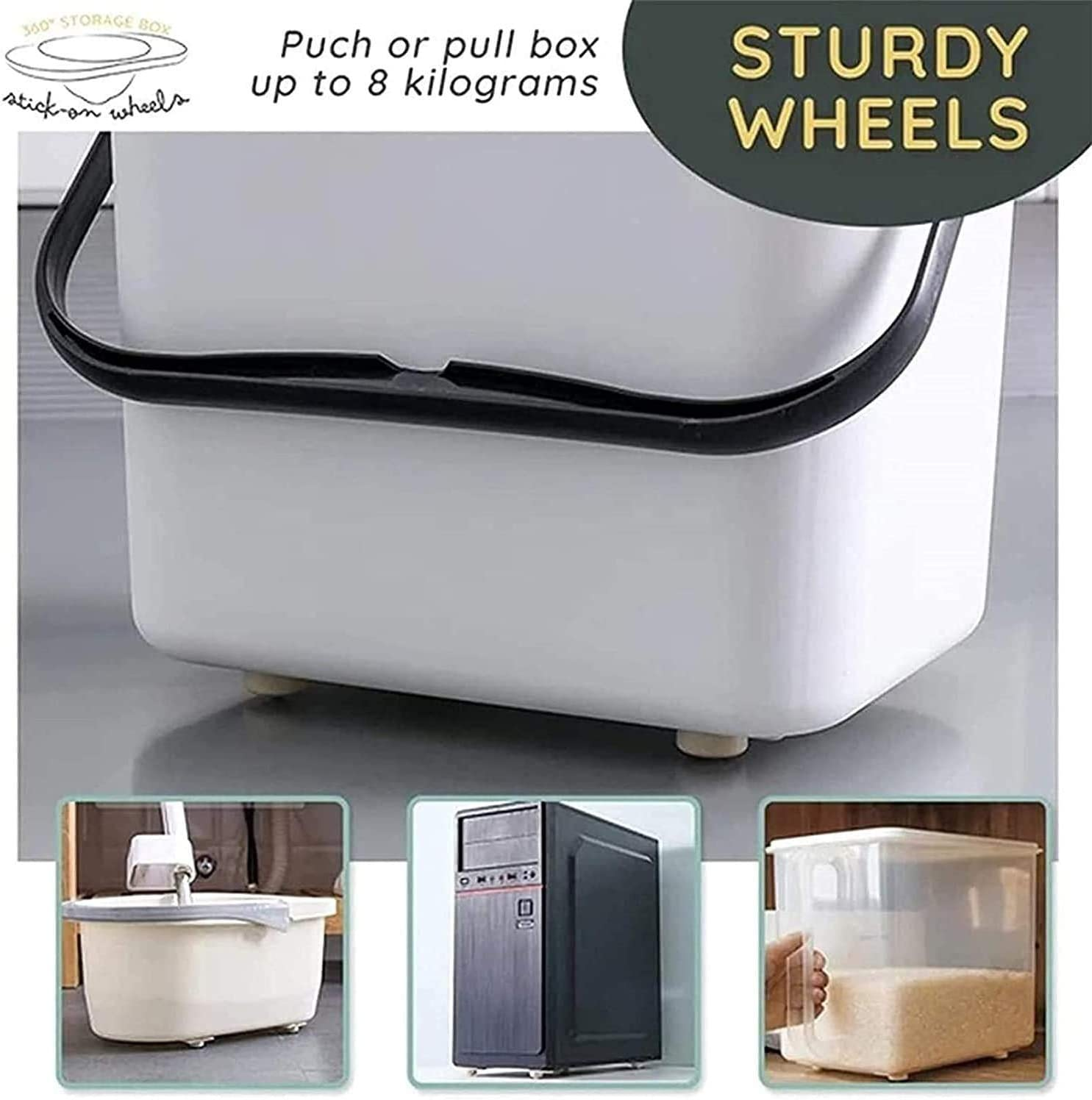 Paste Type Universal Pulley with Self-Adhesive Sticker 8PCS,Plastic 360 Degree Rotation Universal Pulleys Storage Box Trash Can Furniture Bottom Wheel Rollers